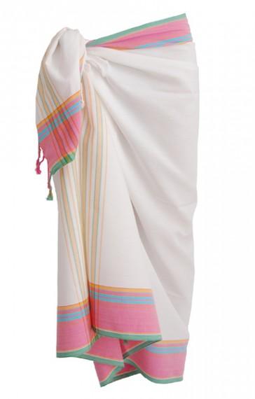 Kikoy Classic-Weiß-Pink
