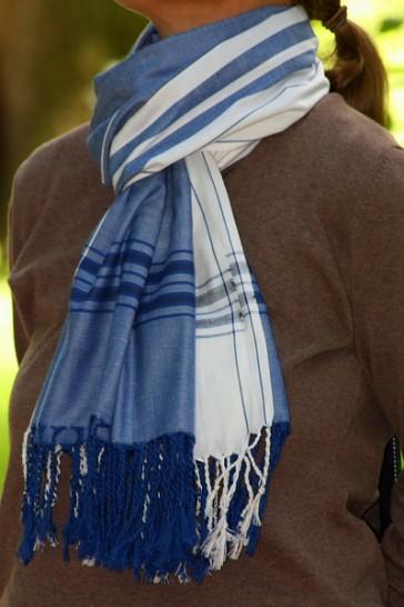 Softkikoy Schal Marineblau-Weiß