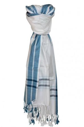 Edelschal Weiß-Blau