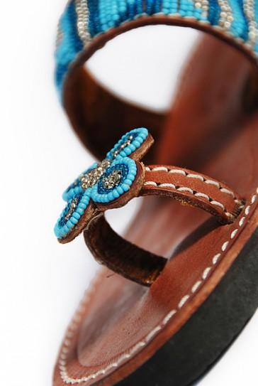 Türkis-Blaue Sandale mit Zehenhalter