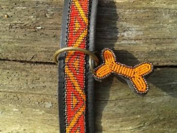 Afrikanisches Lederhalsband D-Ring Mtte, Rot-Orange