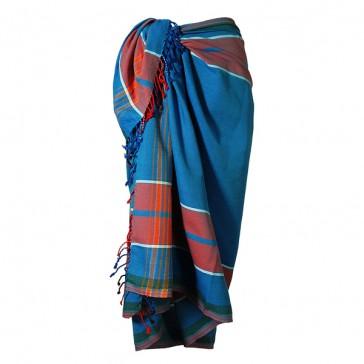 Indigo-Blau mit Rot im afrikanischen Classic Kikoy