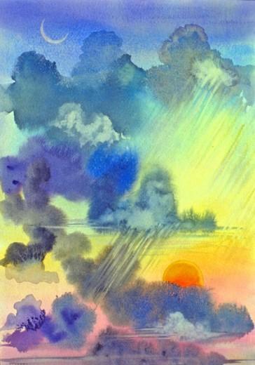 Carribean Rainstorm at Sunset