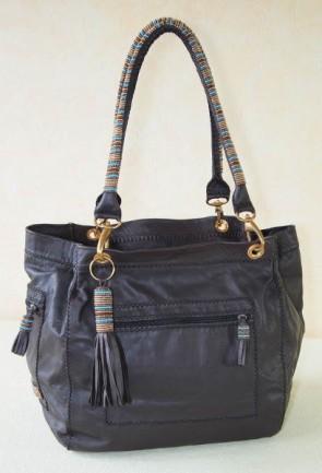 Afrikanische Damentasche, Leder mit Perlen