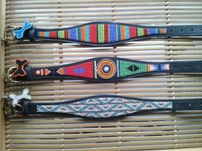 Windhundehalsband, Leder, Afrikanisch, Handarbeit